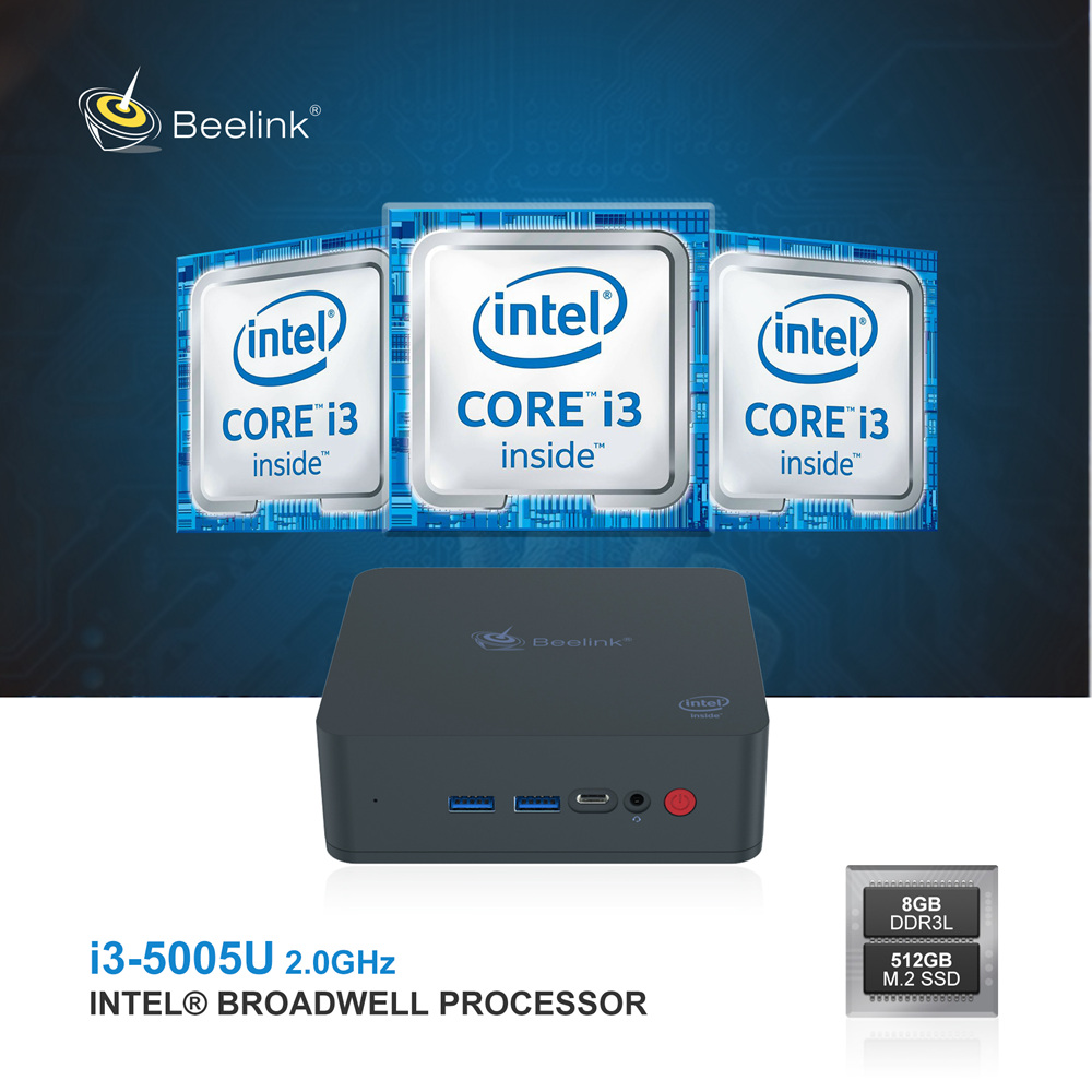 Beelink U55 Intel Core I3-5005U 8G RAM / 512G Mini PC SSD 2.4G + 5G WIFI Bluetooth 1000Mbps LAN 2xHDMI