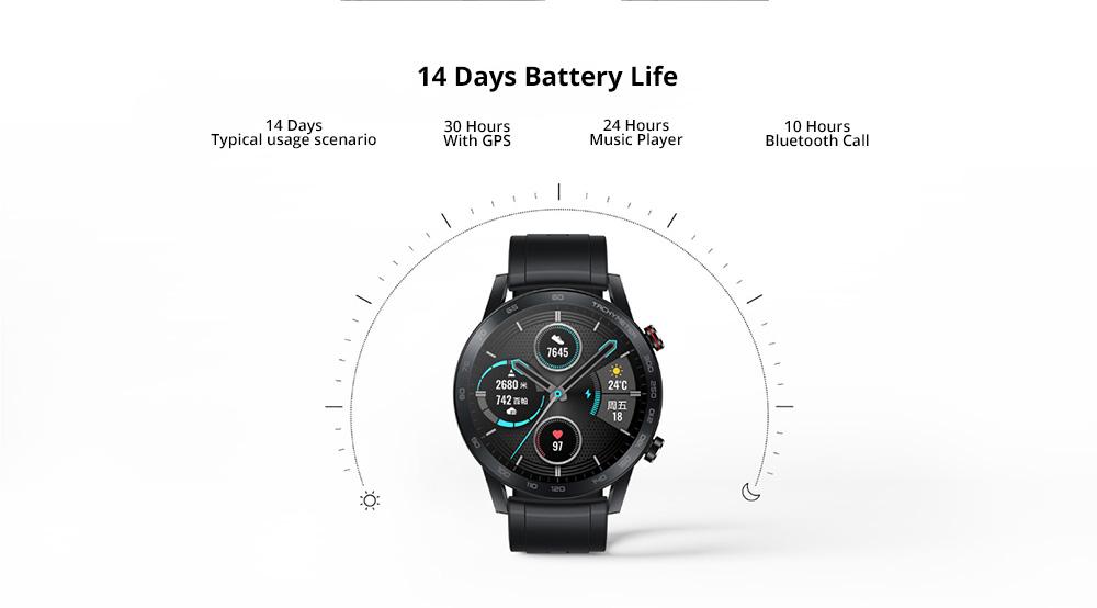 Huawei Honor Magic 2 Minos 46MM Smartwatch 1.39 Inch AMOLED 454*454 pixels Display 5ATM Water Resistant GPS Global Version