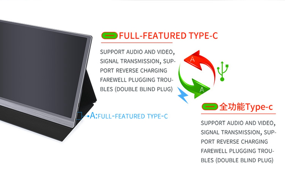 AOSIMAN ASM-156FC Portable Monitor 15.6 Inch 1920*1080 IPS HDR Full Metal Body Dual Type-C+Mini HDMI Dual Port