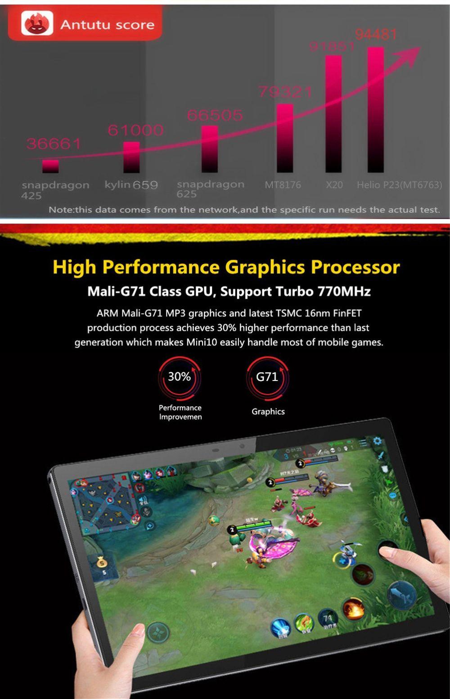 Binai Mini10 4G Tablet PC MTK Helio P23 Octa Core 10.1 Inch IPS 1920*1200 Dual SIM Dual Standby Android 9.0 3GB RAM 32GB ROM - Black