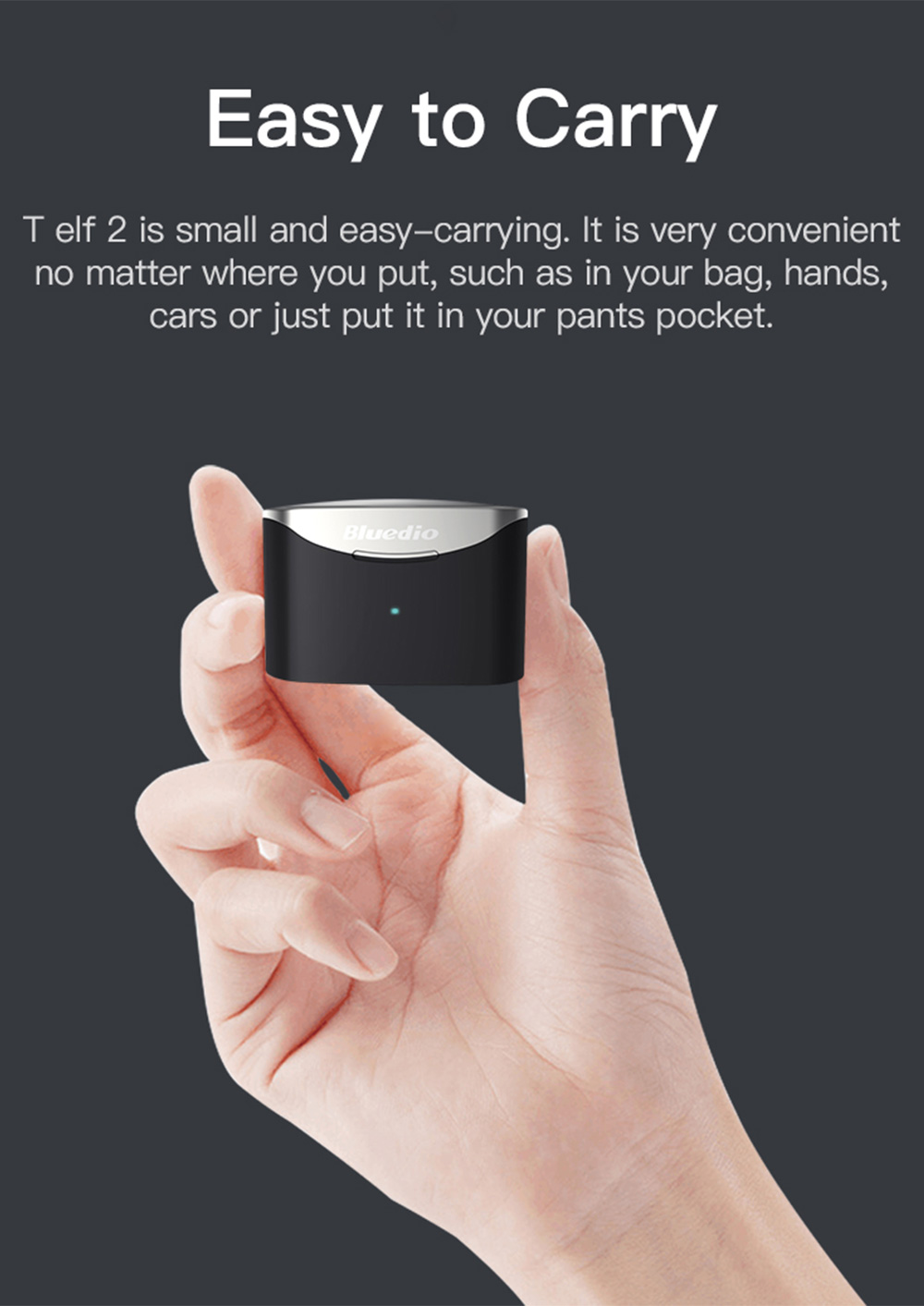 Bluedio T Elf 2 Bluetooth 5.0 TWS Earphones 6 Hours Playtime IPX6 Volume Touch Control Type-C Charing - Black
