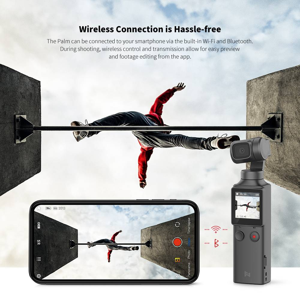 FIMI PALM Pocket 3-Axis UHD 4K 128 Degree Wide-angle Camera Gimbal Handheld Stabilizer Smart Track Mode Built-in WIFI Bluetooth