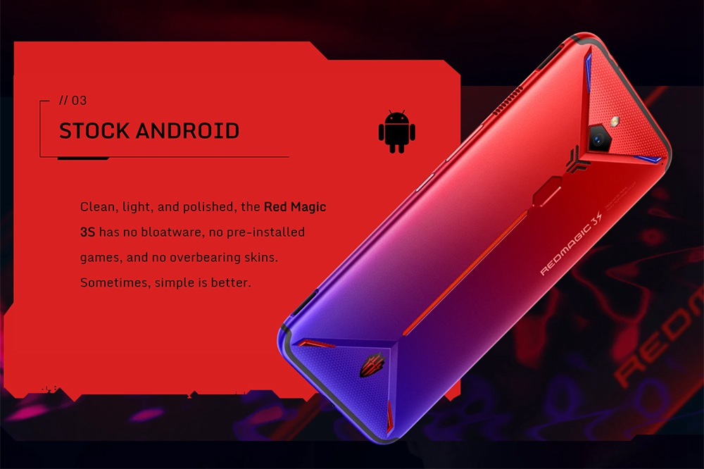 Nubia Red Magic 3S 4G LTE Smartphone 6.65 Inch FHD+ Screen Snapdragon 855 8GB RAM 128GB ROM Dual SIM Dual Standby 5000mAh Large Battery Fingerprint ID Android 9 OS Global ROM - Silver