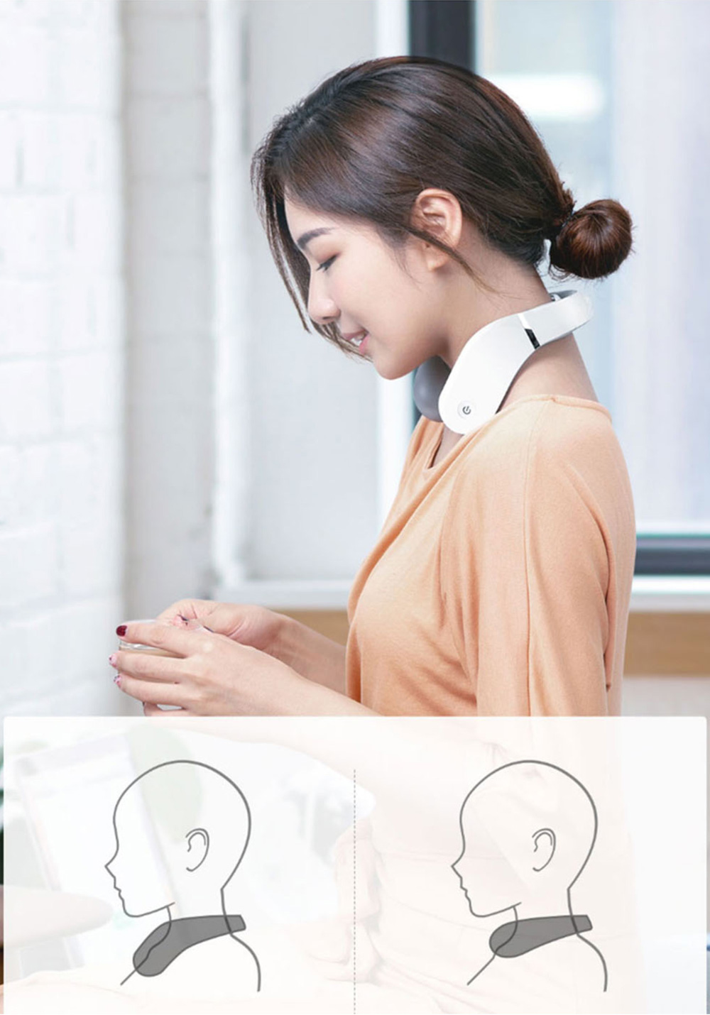 Jeeback G2 L-shaped Neck Massager APP Remote Control 3 Head Infrared Heating Cervical Instrument From Xiaomi Youpin - White