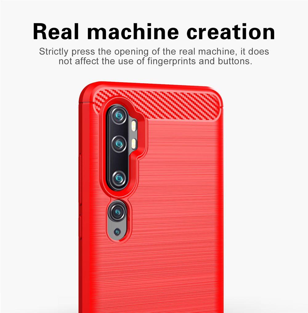 Makibes Carbon Fiber Texture Anti-fall Soft TPU Phone Case For Xiaomi CC9 Pro / Xiaomi Mi Note 10 - Blue