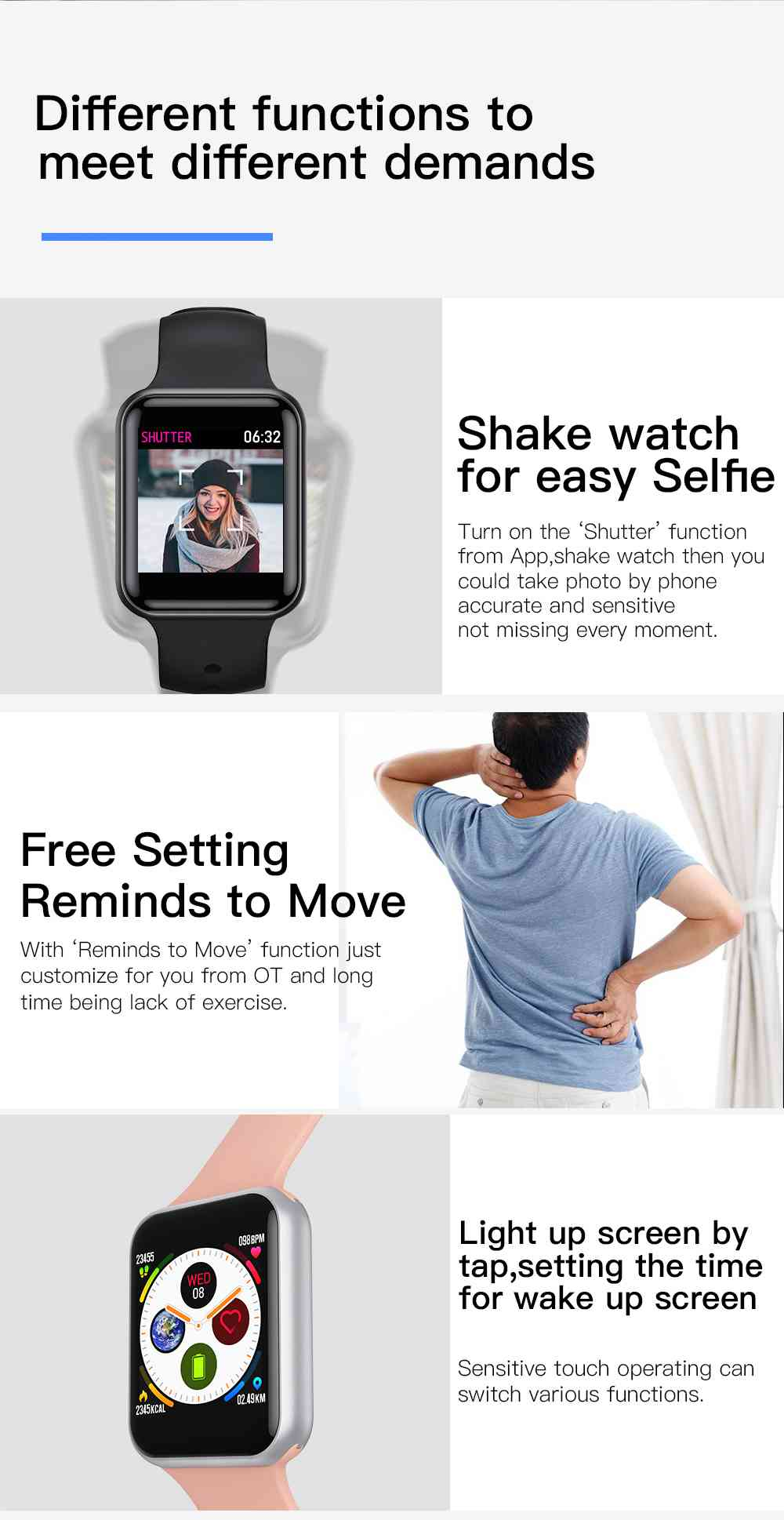 Makibes SN72 Smartwatch 1.3 Inch IPS Colorful Screen IP68 Blood Oxygen Pressure Heart Rate Monitor - Black