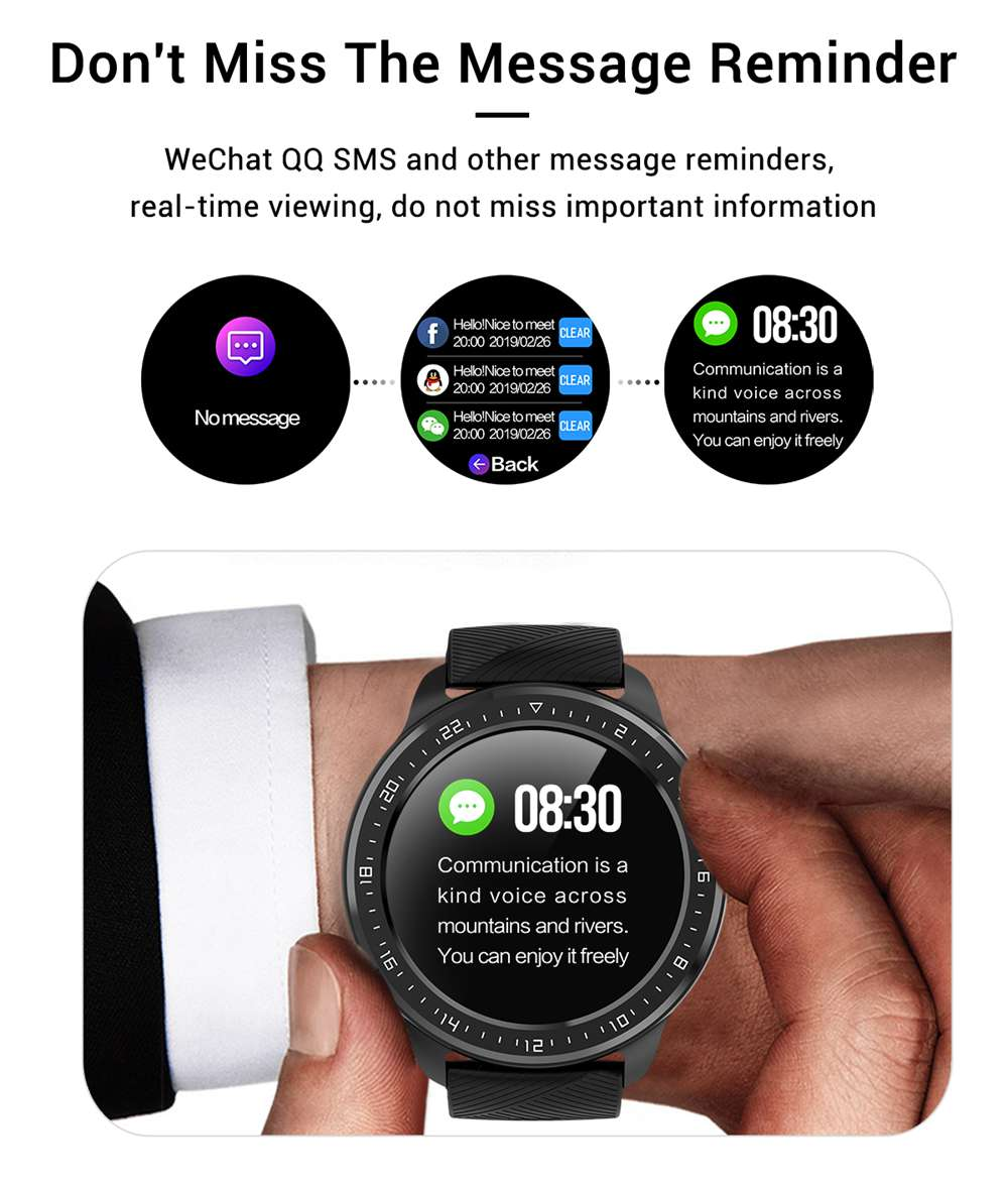 Makibes Z06 Smartwatch 1.3 Inch TFT Screen IP67 Waterproof Blood Pressure Heart Rate Sleep Monitor Silicone Strap - Black