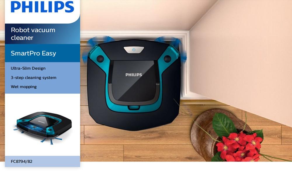 PHILIPS Smart Robot Vacuum Cleaner 600Pa Suction 105 Min Runtime Ultra-thin Body Degisn - Black