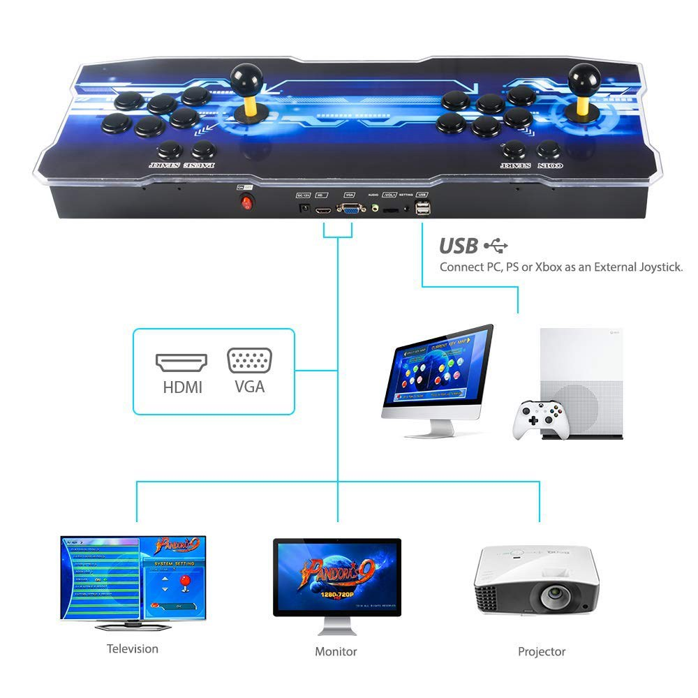 Pandora Treasure 2700 in 1 720P Arcade Game Console 2GB/16GB VGA HDMI for TV PC PS3 - Blue