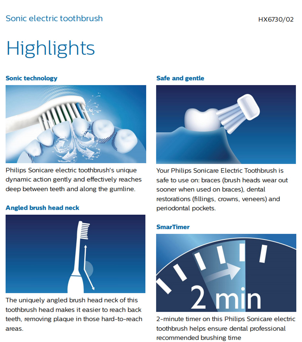Philips Sonicare HealthyWhite HX6730/02 Sonic Electric Toothbrush Rechargeable 3 Modes - White