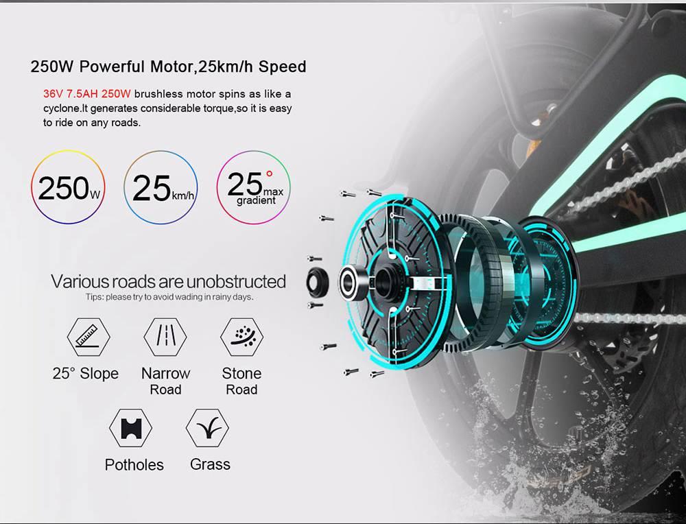 Samebike JG7186 Portable Folding Smart Electric Moped Bike 250W Motor Max 25km/h 16 Inch Tire - Gray