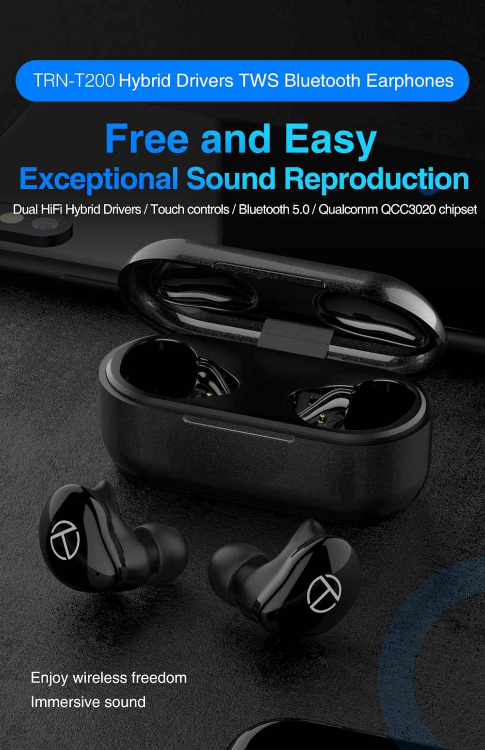 TRN T200 CVC 8.0 Earphones Qualcomm QCC3020 Volume Control aptX /AAC/ SBC Siri IPX5 7 Hours Playtime - Black