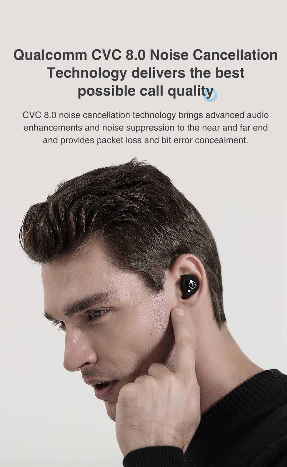 TRN T200 CVC 8.0 Earphones Qualcomm QCC3020 Volume Control aptX /AAC/ SBC Siri IPX5 7 Hours Playtime - Black