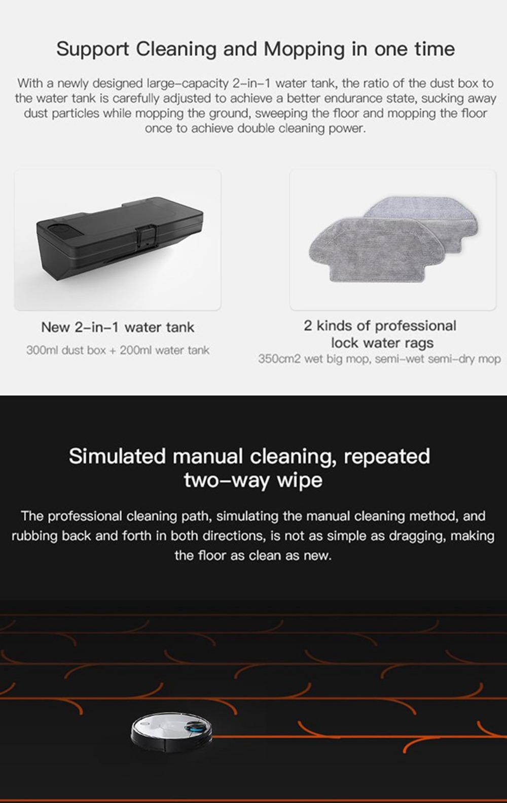Xiaomi VIOMI V2 Pro Vacuum Cleaner 2100Pa LDS Laser Navigation EU Plug Without 550ml Water Tank - Gray