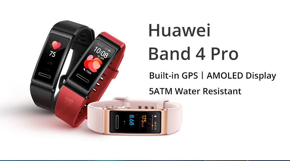 Huawei Band 4 Pro Smart Bracelet 0.95 Inch AMOLED Screen 5ATM Waterproof Built-in GPS Heart Rate Sleep Monitor - Black