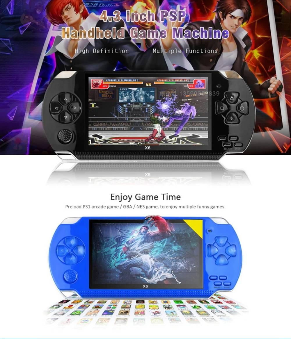 Console de jeu portable Coolboy X6 avec mémoire réelle de 8 Go, jeu vidéo portable de 4,3 pouces intégré à des milliers de jeux gratuits - bleu
