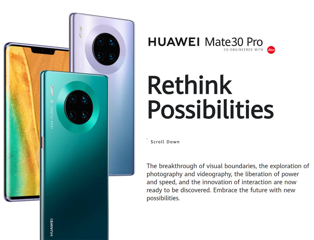 HUAWEI Mate 30 Pro 6.53 Inch 4G LTE Smartphone Kirin 990 8GB 256GB 40.0MP+40.0MP+8.0MP+3D Depth Sensing Camera Quad Rear Cameras NFC Fingerprint ID Dual SIM Android 10.0 - Black