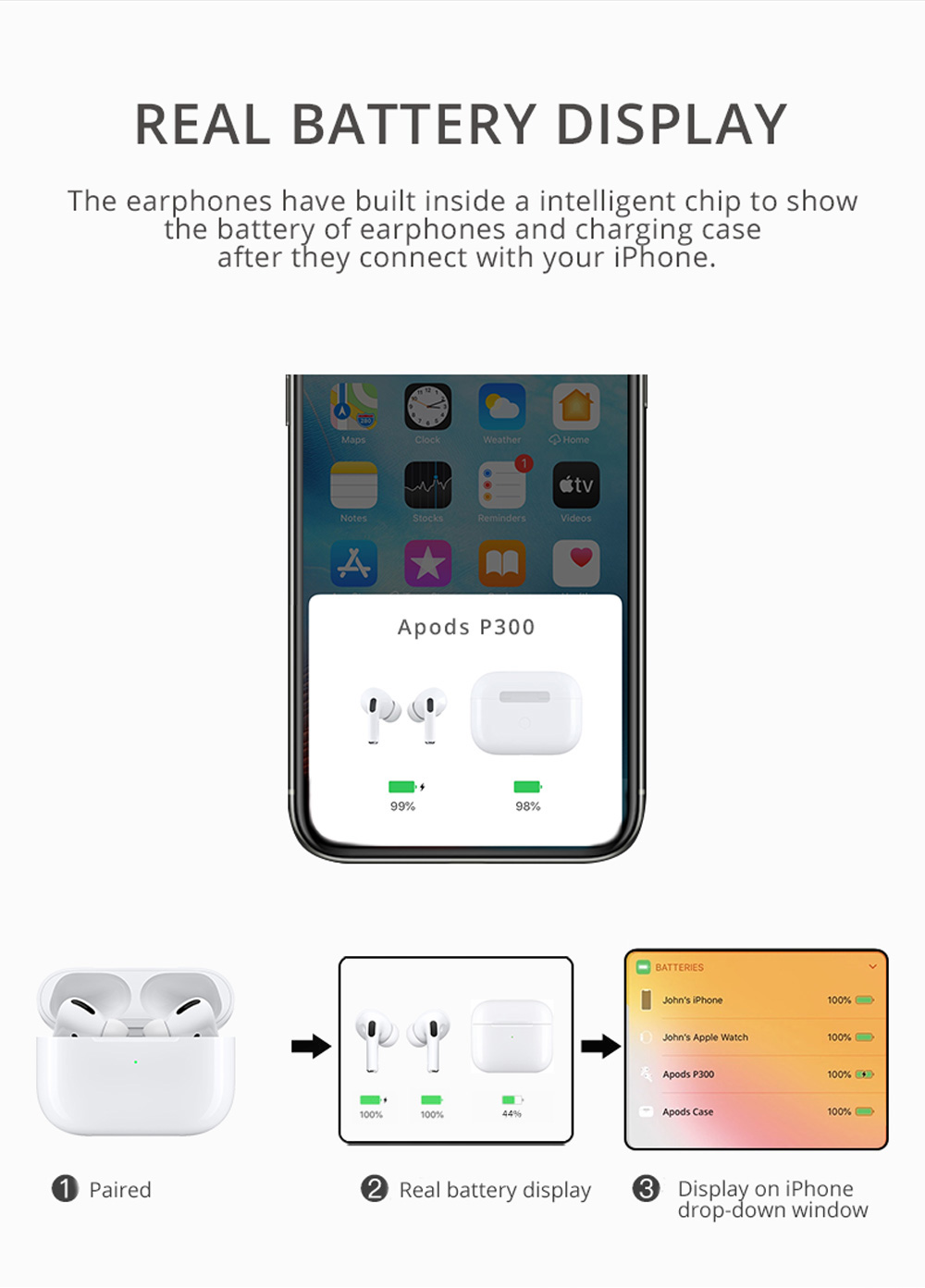 Apods P300 Bluetooth 5.0 TWS Earphones Independent Usage Wireless Charging Real Battery Display - White
