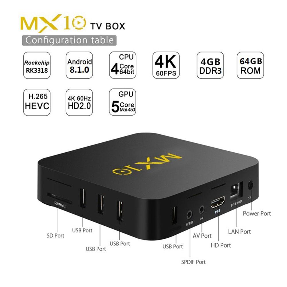 MX10 Android 8.1 TV BOX RK3328 Quad Core 4GB//32GB HDR10 USB 3.0 WiFi 4K HD Media
