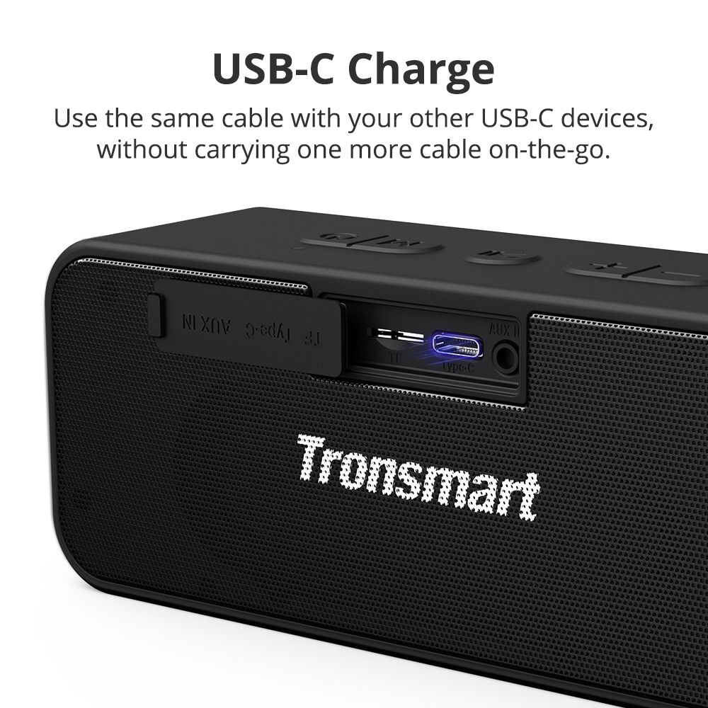 [2 balenia] Tronsmart T2 Plus 20 W Bluetooth 5.0 Reproduktor 24H Playtime IPX7 Vodotesný Soundbar s TWS, Siri, Micro SD
