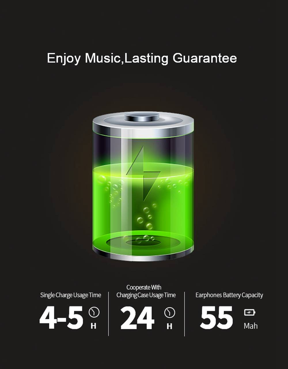 Myinnov MKJM6S Dual Bluetooth 5.0 Earbuds Touch Control About 8 Hours Working Time - Black