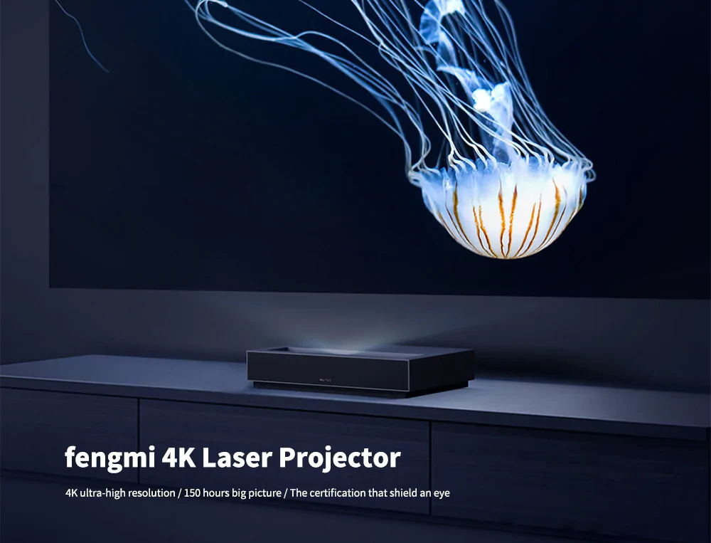 Xiaomi Fengmi ALPD 3.0 4K HDR 10 Ultra-Short Laser Projector 1700 Lumens Dolby Audio 3000:1 Contrast Ratio 2.4G/5.8G WiFi Bluetooth USB 3.0 - Black