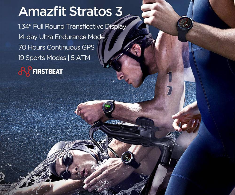AMAZFIT Stratos 3 Smart Sports Watch 1.34 Inch Full Moon Screen Dual-Mode 5ATM GPS Firstbeat Silicone Strap Global Version - Black