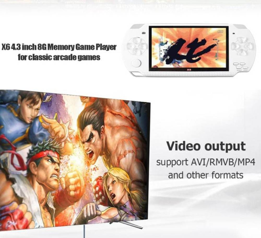 Coolboy X6 Handheld Game Console Real 8GB Memory 4.3 Inch Portable Video Game Built in Thousand Free Games - Blue