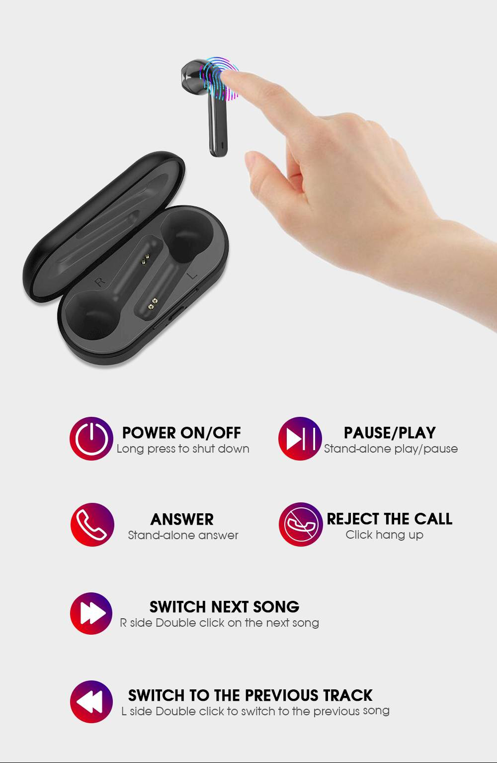 YTOM L8 Bluetooth 5.0 True Wireless Earphones Independent Usage 300mAh Charging Box - Black