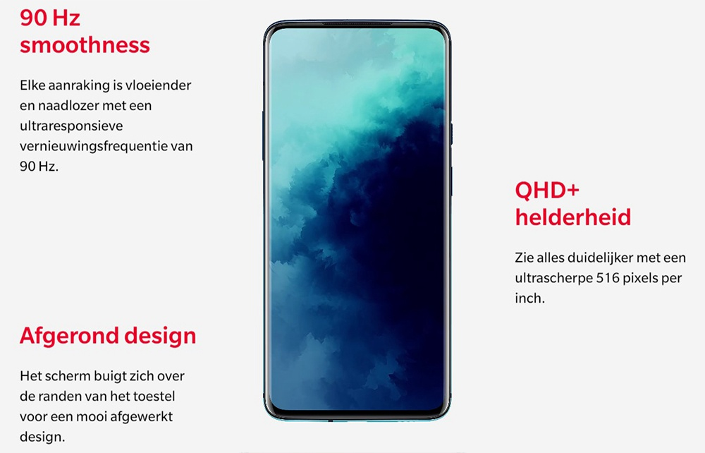 OnePlus 7T Pro 6.67 Inch 4G LTE Smartphone Snapdragon 855 Plus 8GB 256GB 48.0MP+8.0MP+16.0MP Triple Rear Cameras NFC Face Unlock Oxygen OS Global Rom - Blue
