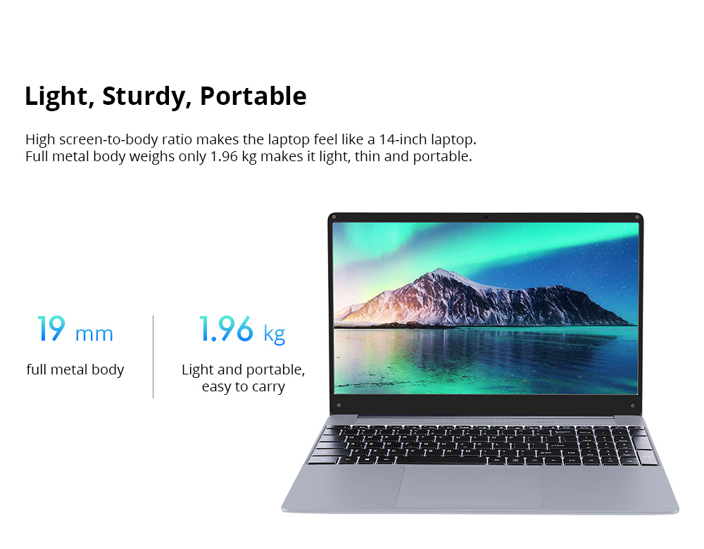 VORKE Notebook 15 PRO Laptop 15.6 Inch Screen Intel Core i7-8550U Quad Core 8GB DDR4 256GB SSD Windows 10.0 Home - Silver