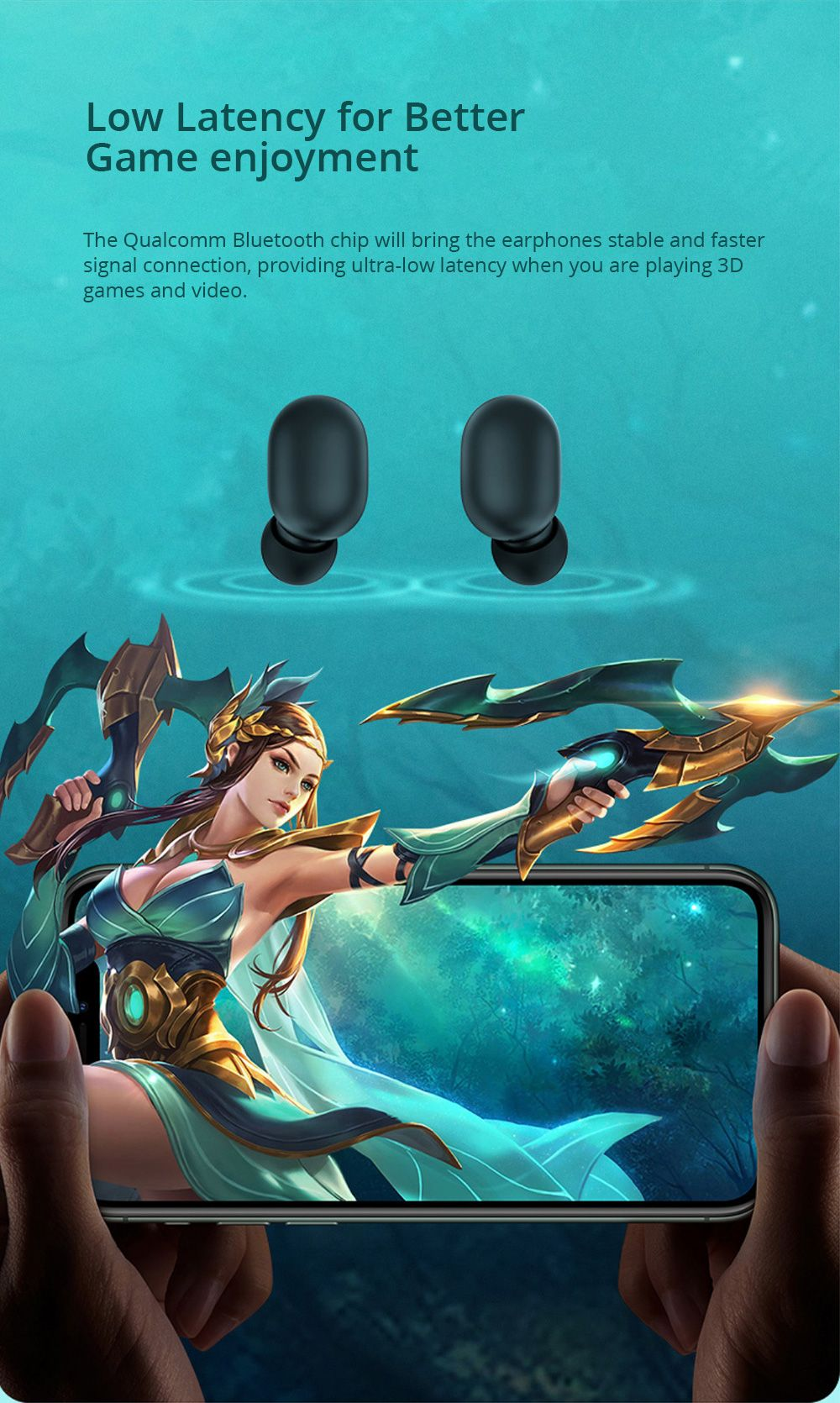 Haylou GT1 Plus Qualcomm QCC3020 Bluetooth 5.0 TWS Earbuds aptX/AAC Independent Usage Siri Google Assistant 18 Hours Standby Time IPX5 - Black