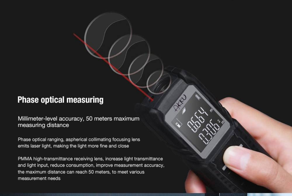 Xiaomi AKKU AK302 HD 50m Laser Rangefinder Measuring Tool 4 Measurement Mode 2000 Continuous Measurement - Grey