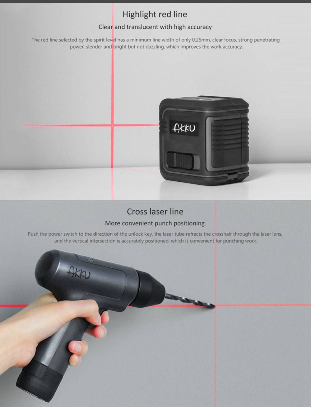Xiaomi AKKU Infrared Laser Level Measuring Tool Automatic Anping Cross Laser Line - Grey