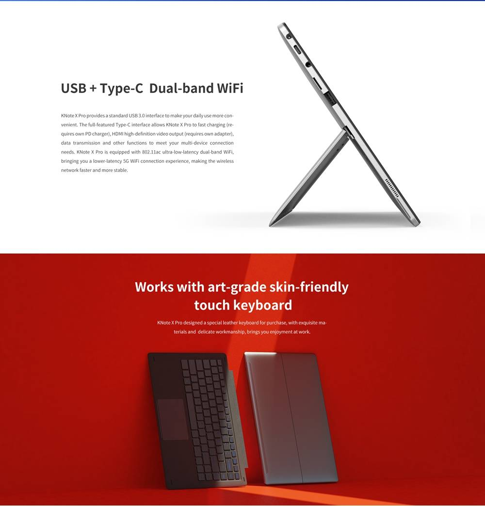 ALLDOCUBE KNote X Pro  Tablet Laptop Intel Gemini Lake N4100 13.3 Inch 1080P FHD Screen Windows 10 8GB RAM 128GB ROM - Grey