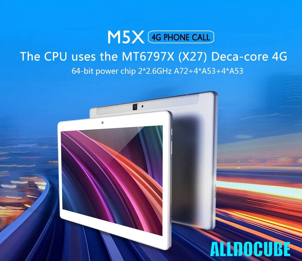 ALLDOCUBE M5X Tablet Laptop 4G LTE MTK6797X Deca Core 10.1 Inch Capacitive Screen Dual Camera  Android 8.0 4GB RAM 64GB ROM - White