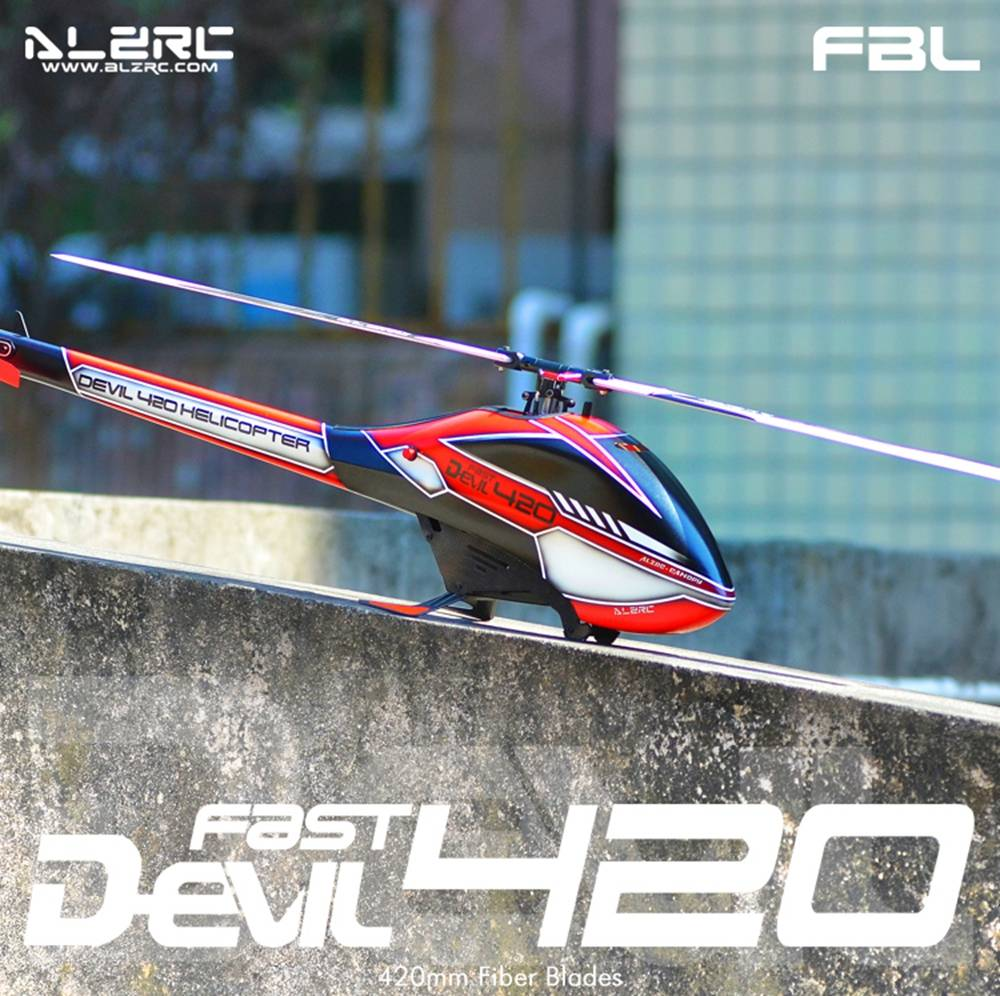 ALZRC Devil 420 FAST FBL 420mm Fiber Blades 3D Flying RC Helicopter Kit - Red