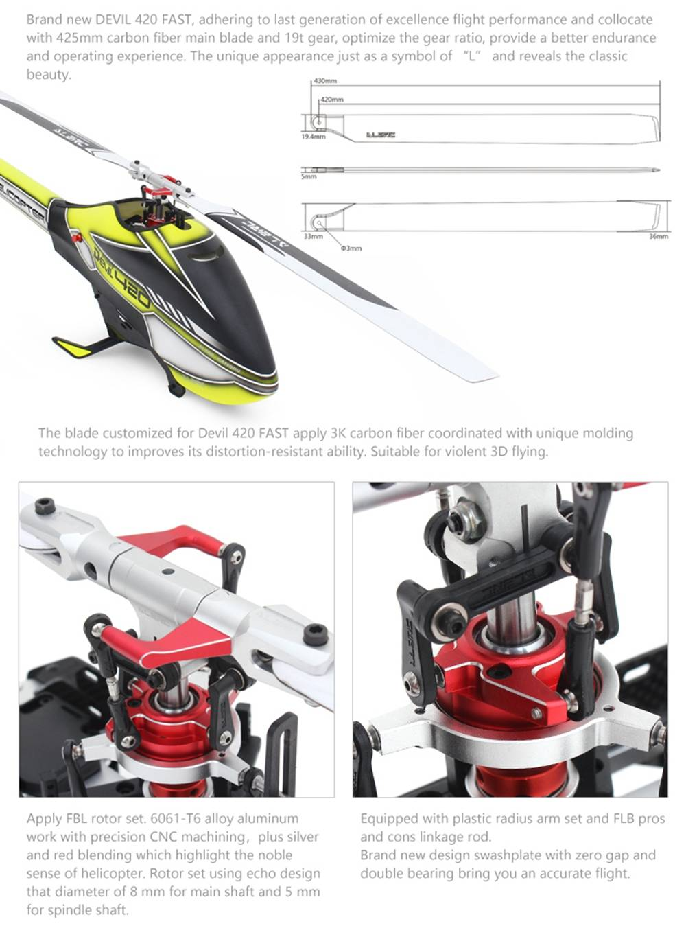 ALZRC Devil 420 FAST RC Helicopter Kit Yellow