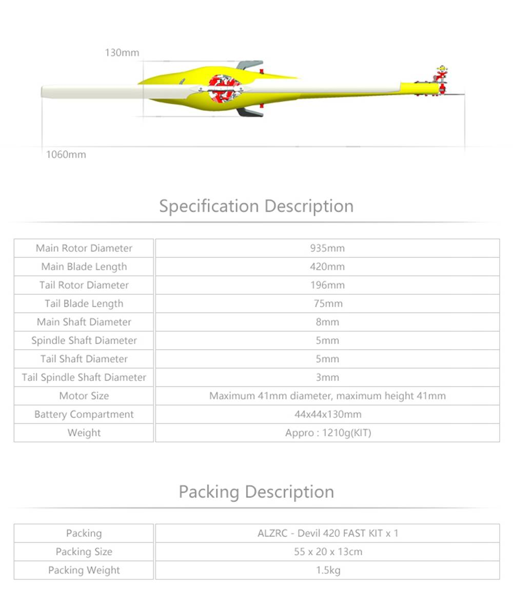 ALZRC Devil 420 FAST FBL 420mm Fiber Blades 3D Flying RC Helicopter Kit - Yellow