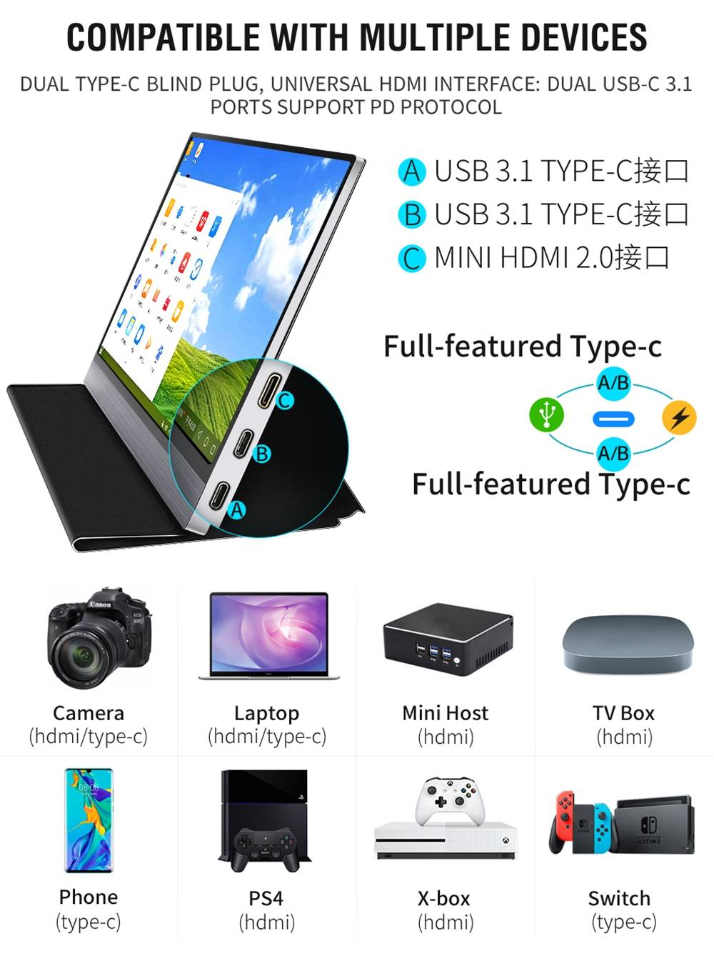 AOSIMAN ASM-156FC Portable Monitor 15.6 Inch IPS HDR Touch Screen 3840*2160 Resolution Full Metal Body Type-C+Mini HDMI Dual Port - Black
