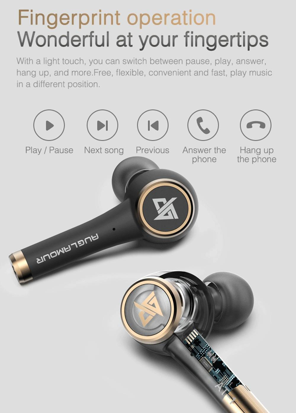Auglamour AT-1 Bluetooth 5.0 TWS Earphone Independent Usage Binaural Call 24 Standby Time IPX5 - Black
