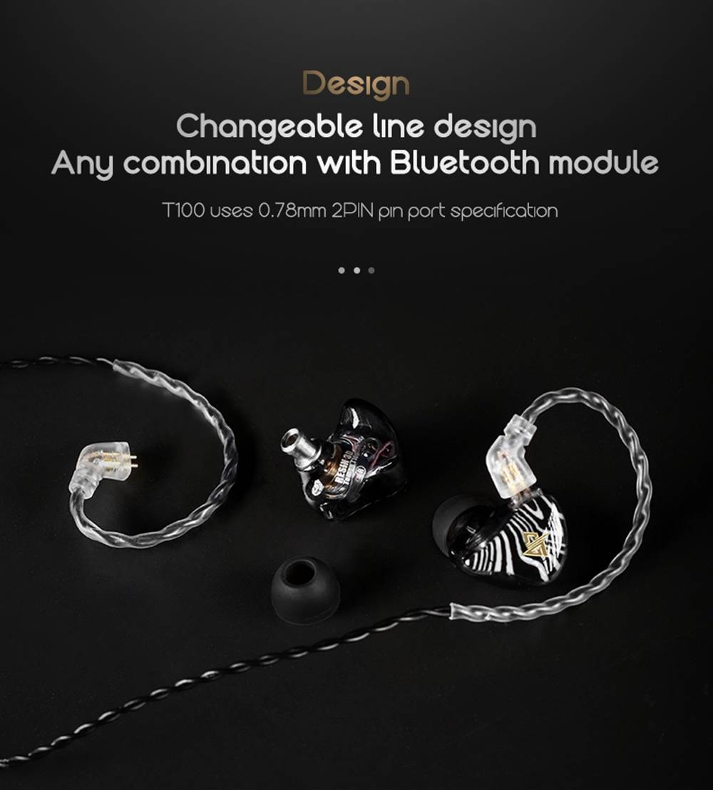Auglamour T100 3.5mm Double Moving Coil In-ear Earphones HIFI Bass 8mm Graphene Coaxial - Black