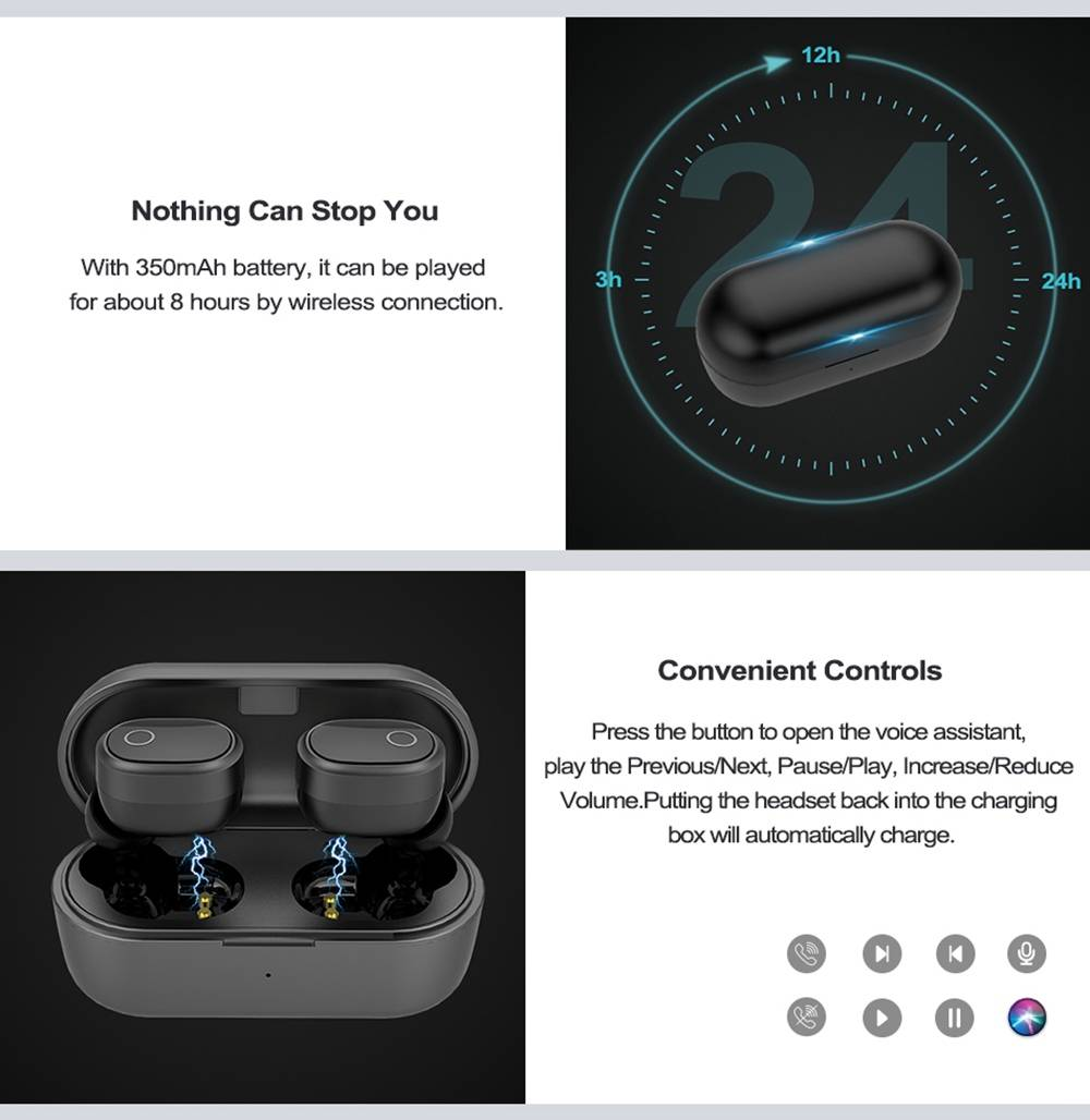 AUSDOM TW01S Bluetooth 5.0 True Wireless Earphones Binaural call Independent Usage 4 Hours Playtime - Black