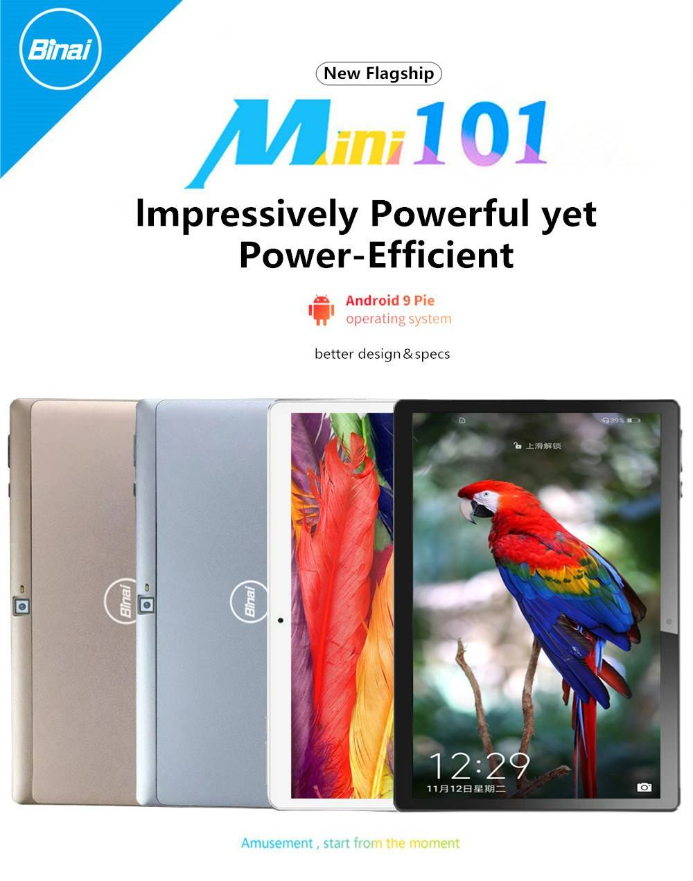 Binai Mini101 Ultimate Edition 4G LTE Tablet PC 10.1 Inch IPS Screen MediaTek MTK6763 Octa Core Android 9.0 2GB RAM 32GB ROM - Silver