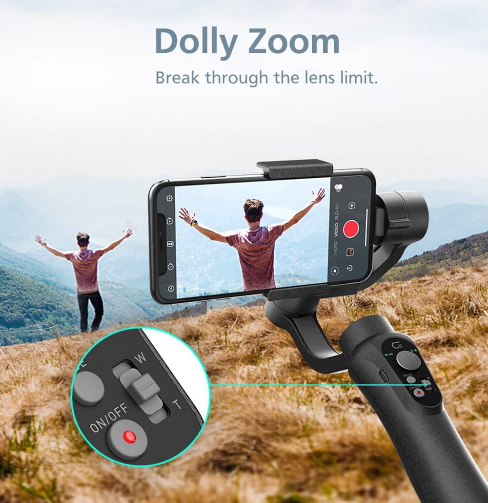 CINEPEER C11 Smartphone Action Camera 3Axis Vlog Handheld Stabilizer Gimbal With Dolly Zoom Panoranma Mode