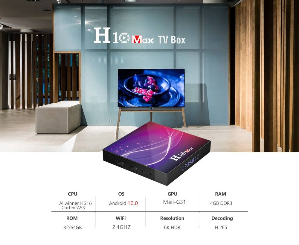 H10 MAX Android 10.0 Allwinner H616 6K TV Box 4GB/32GB Airplay USB2.0*3 WiFi LAN Google Play Youtube Netflix Facebook - Black