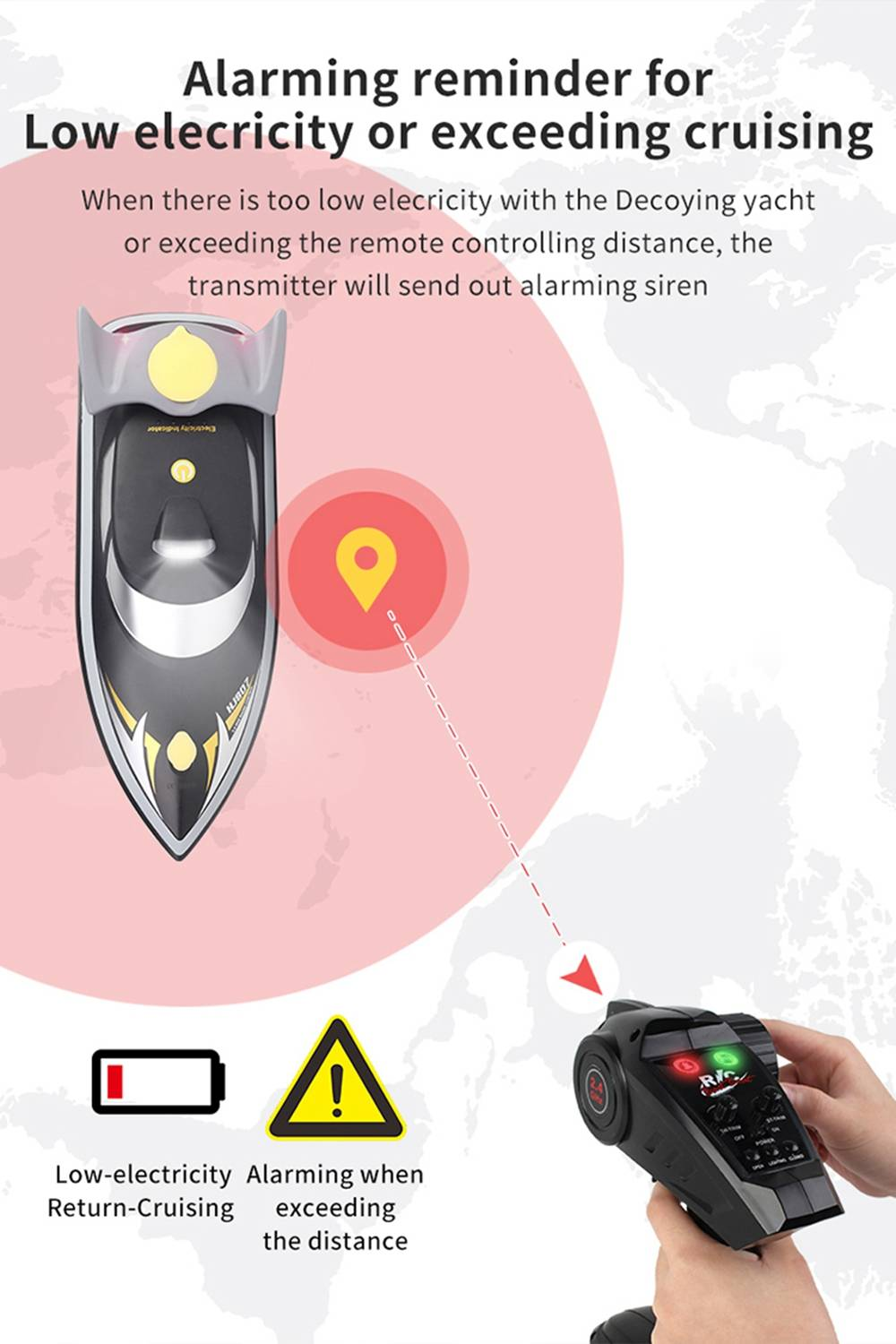 HONGXUNJIE HJ807 2.4G Electric Fishing Bait Remote Fish Finder Pull The Net Wreck Ship RC Boat With Bag - Red