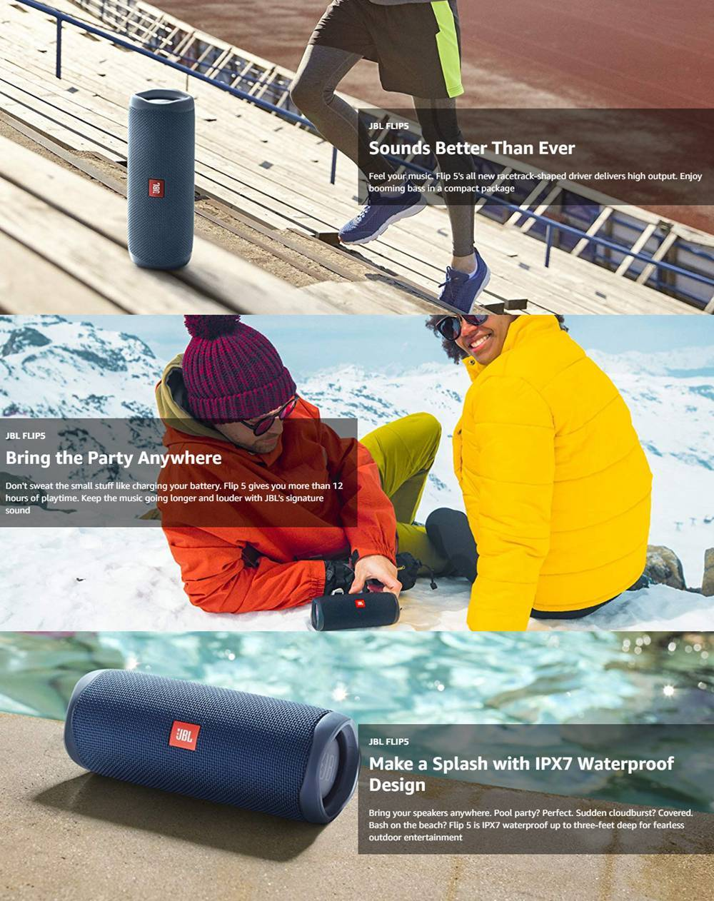JBL FLIP 5 20W 44mm Driver Bluetooth Speaker USB-C Quick Charge IPX7 Waterproof 12 Hours Playtime - Black