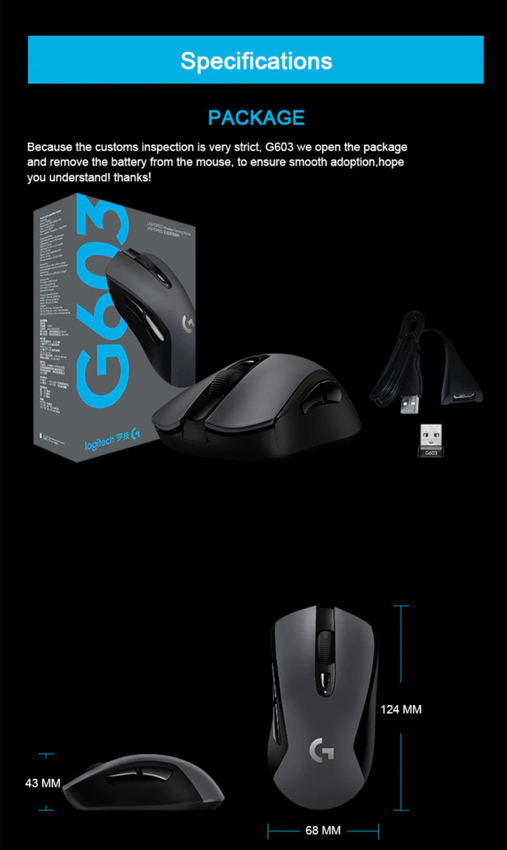 Logitech G603 Wireless Gaming Mouse RGB Backlight 12000 DPI Bluetooth Wireless Dual Modes Connection - Black