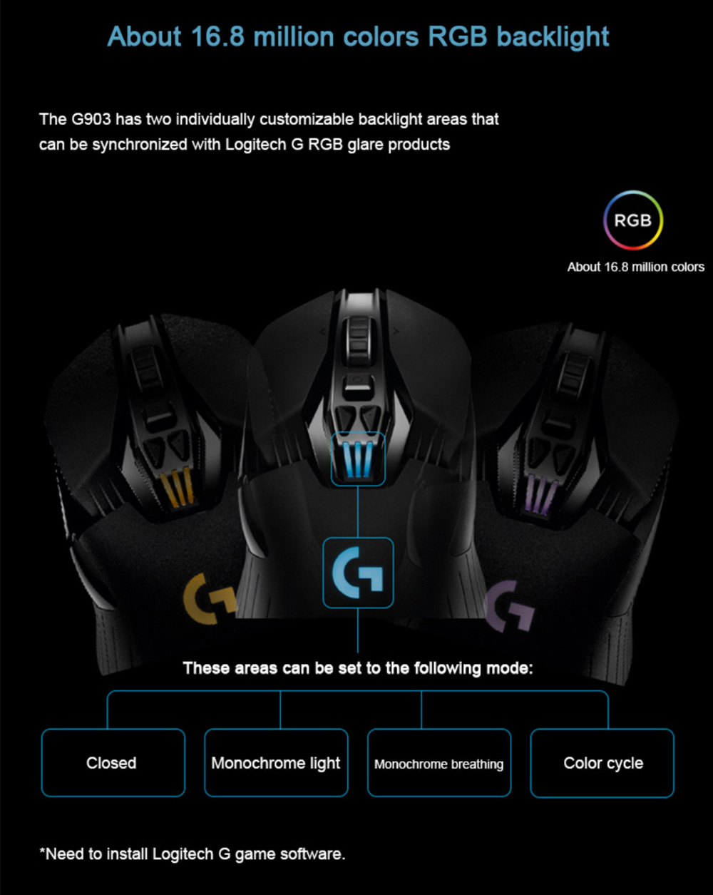 Logitech G903 Gaming Mouse RGB Backlight 16000 DPI USB Wireless Dual Modes Connection - Black